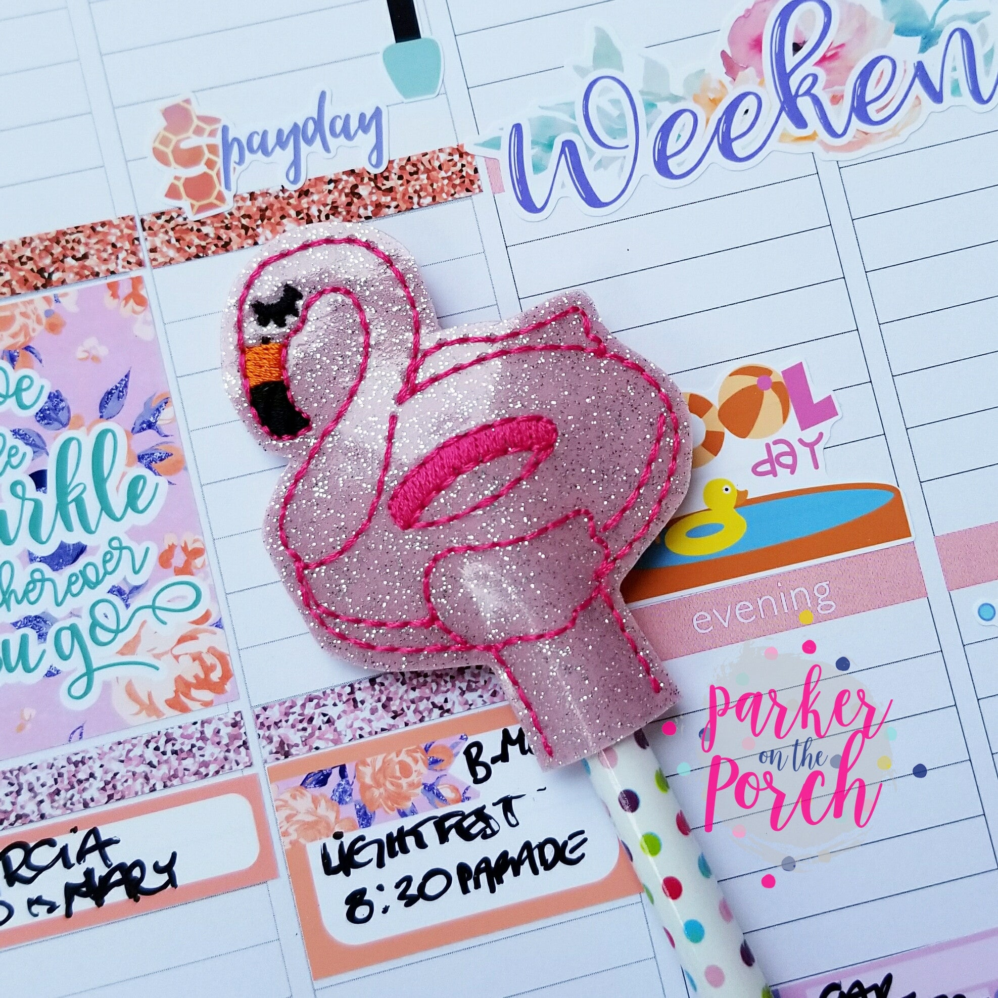 Digital Download- Flamingo Float Pencil Topper - in the hoop machine embroidery