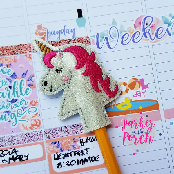Digital Download- Unicorn Pencil Topper - in the hoop machine embroidery