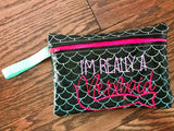 Digital Download - Ombré Scales Zipper Bag - in the hoop machine embroidery ITH pattern
