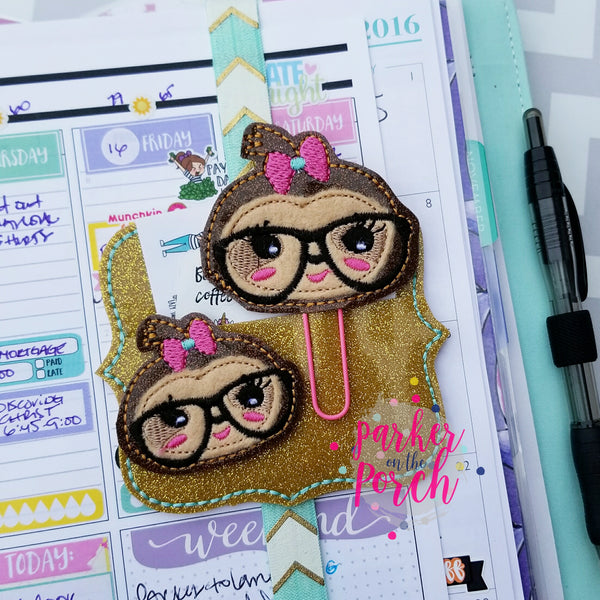 Digital Download- Girlie Sloth Planner Clip & Feltie Set - in the hoop machine embroidery ITH pattern