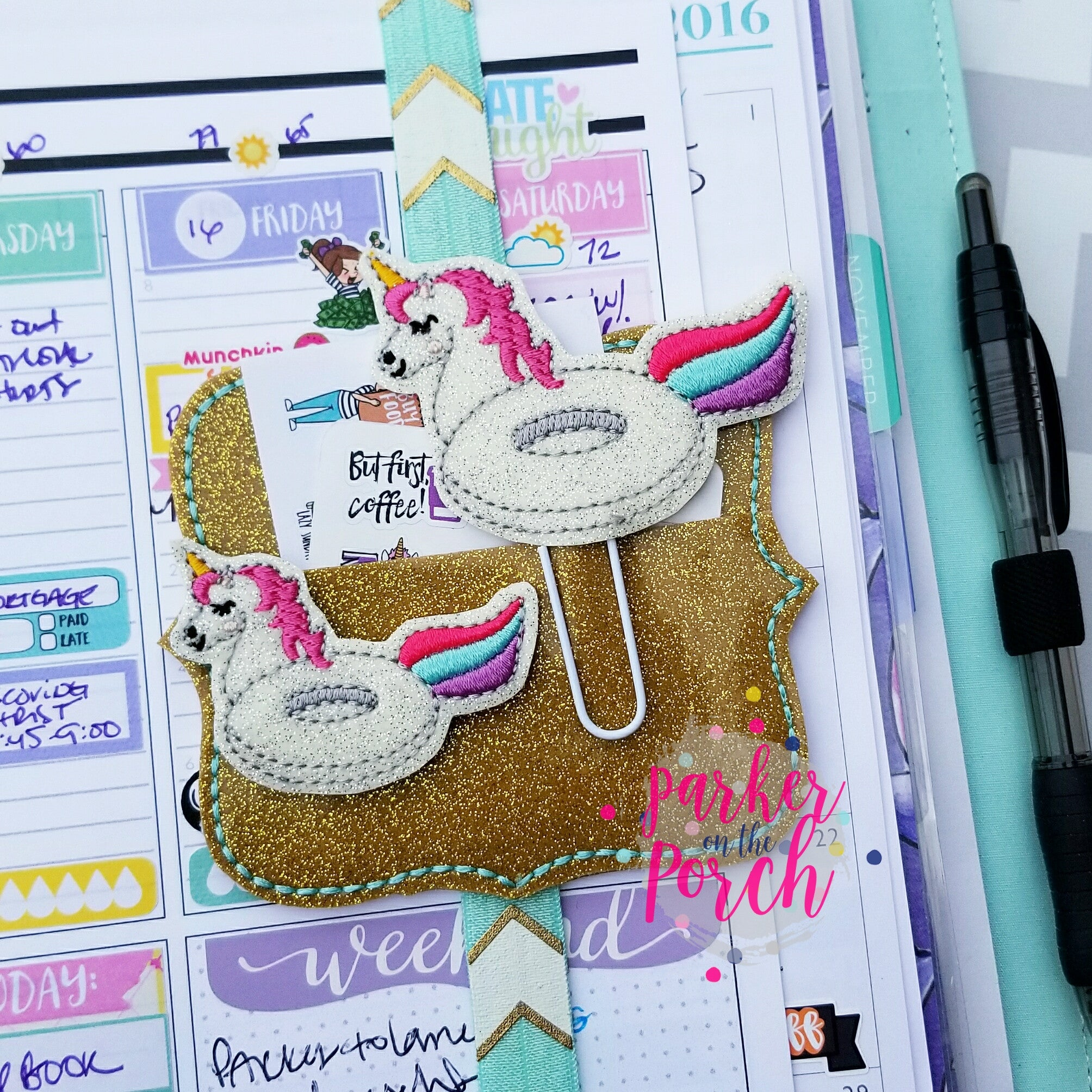 Digital Download- Unicorn Pool Float Planner Clip & Feltie Set - in the hoop machine embroidery ITH pattern