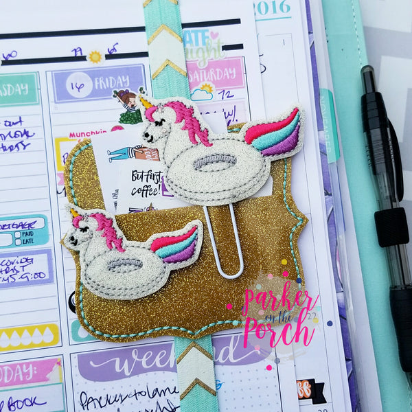 Digital Download- Unicorn Pool Float Planner Clip & Feltie Set - in the hoop machine embroidery
