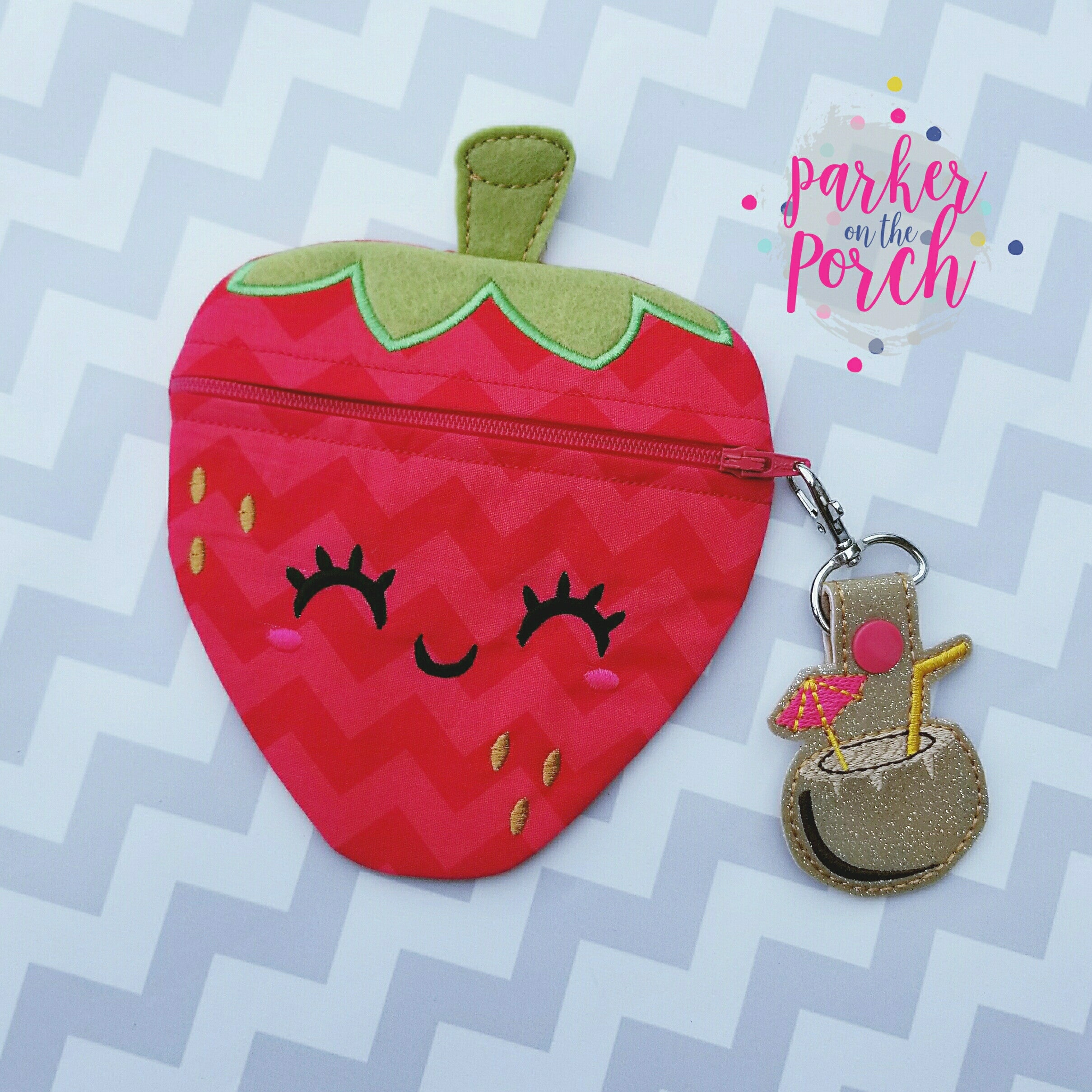 Digital Download- Strawberry Zipper Bag - in the hoop machine embroidery
