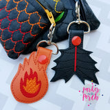 Digital Download- Dragon Snaptab Set ( Tail & Fire ) - in the hoop machine embroidery