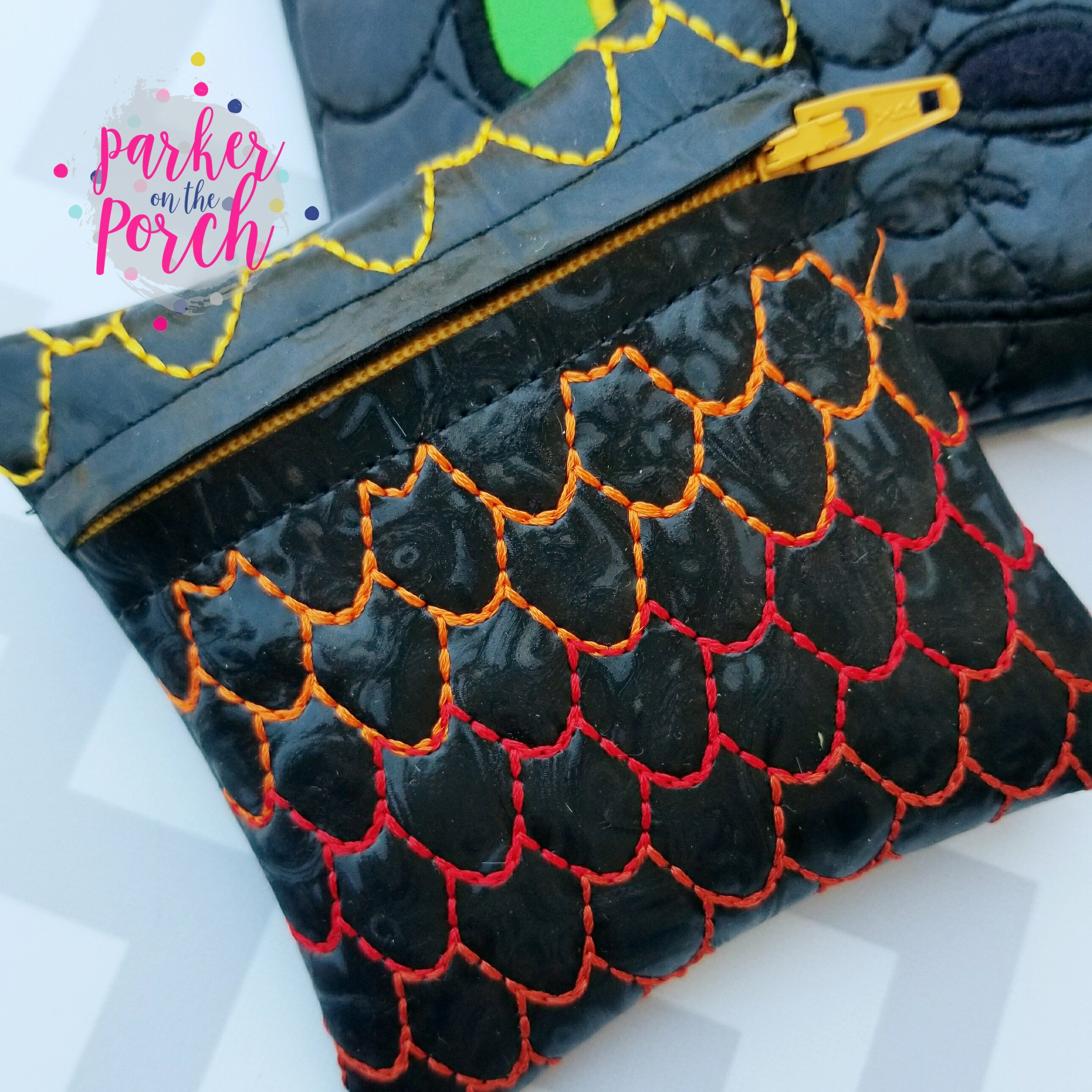 Digital Download - Dragon Scales Zipper Bag - in the hoop machine embroidery ITH pattern