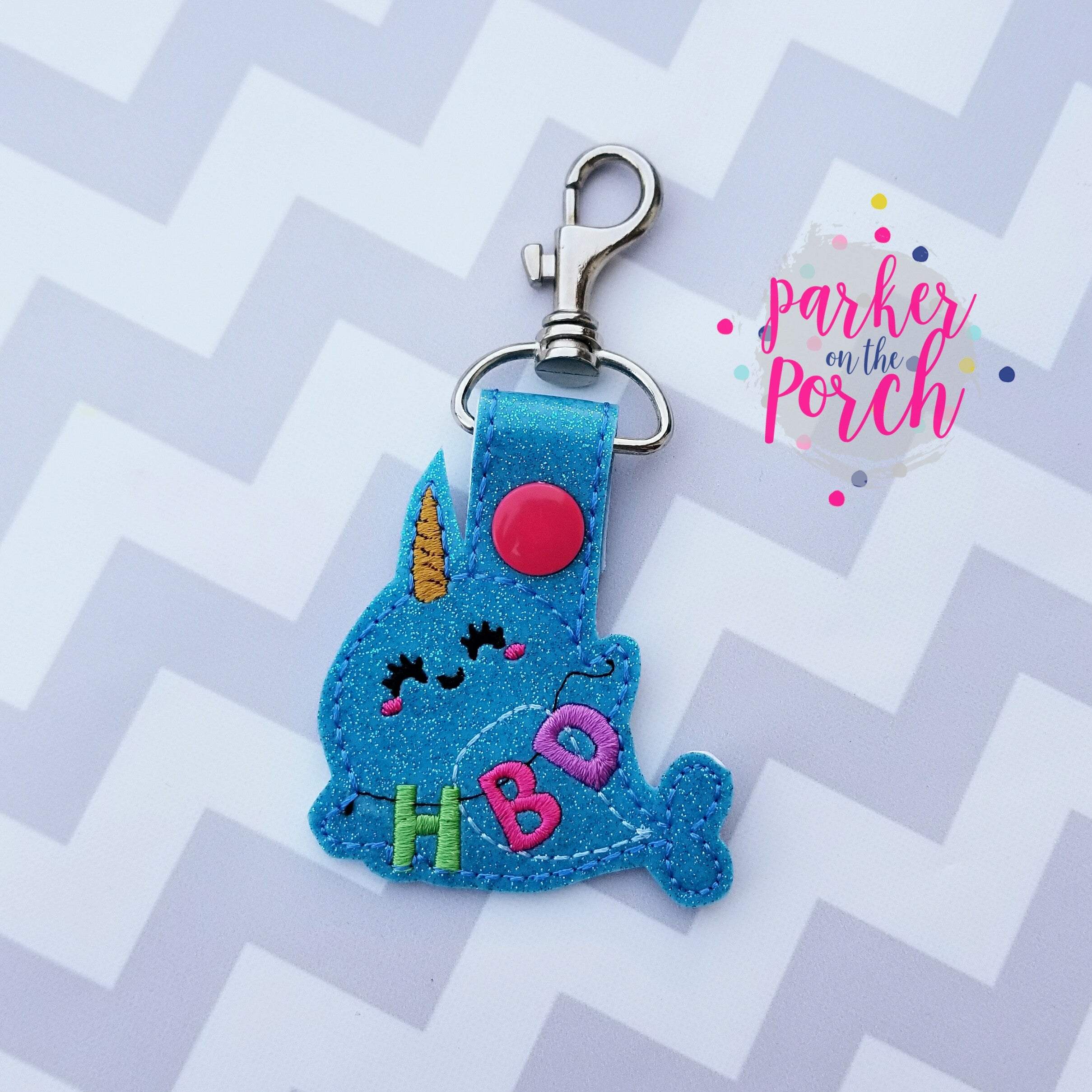 Digital Download- Happy Birthday Narwhal Snaptab - in the hoop machine embroidery