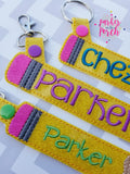 Digital Download- Pencil Snaptab - in the hoop machine embroidery