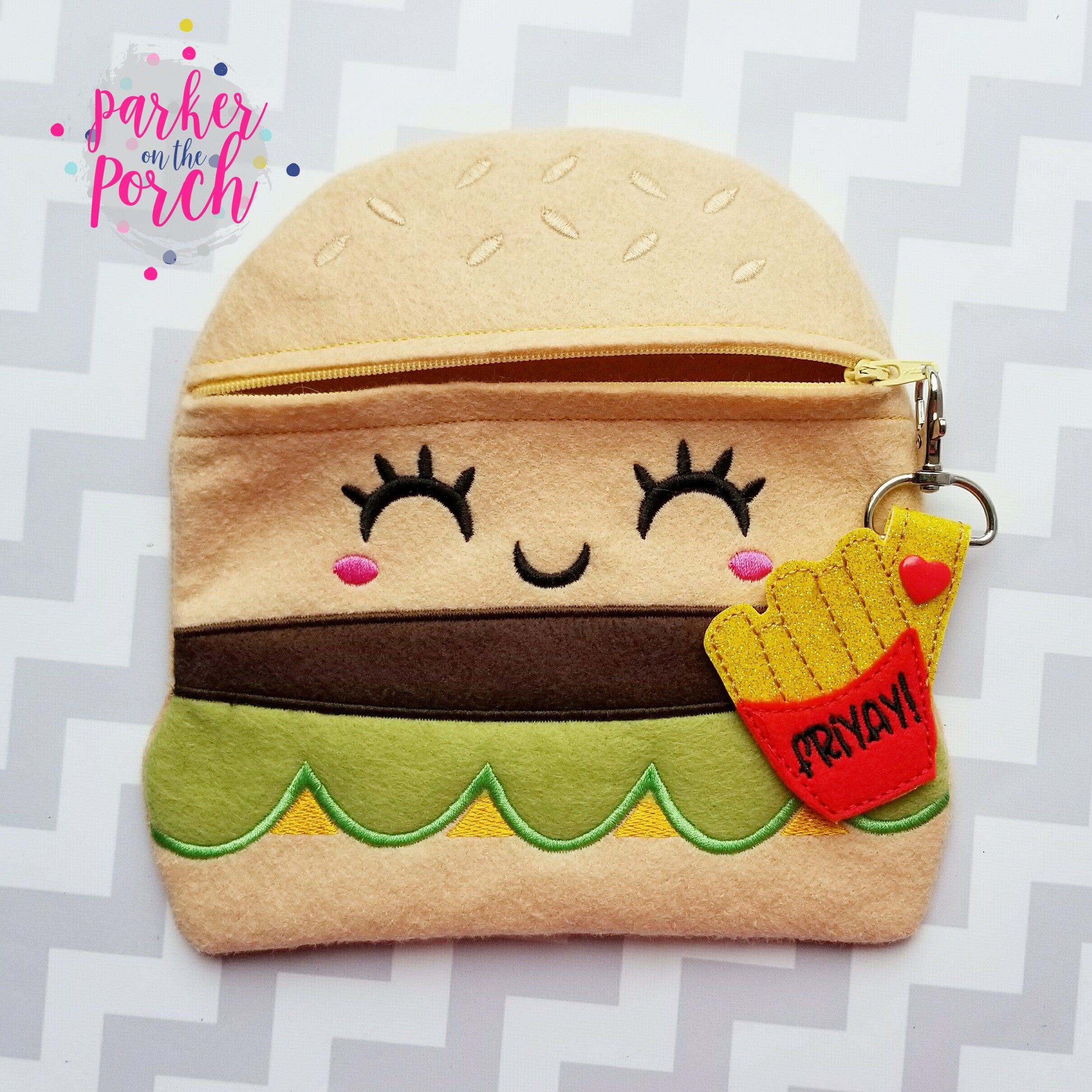 Digital Download - Cheeseburger Zipper Bag - in the hoop machine embroidery ITH pattern