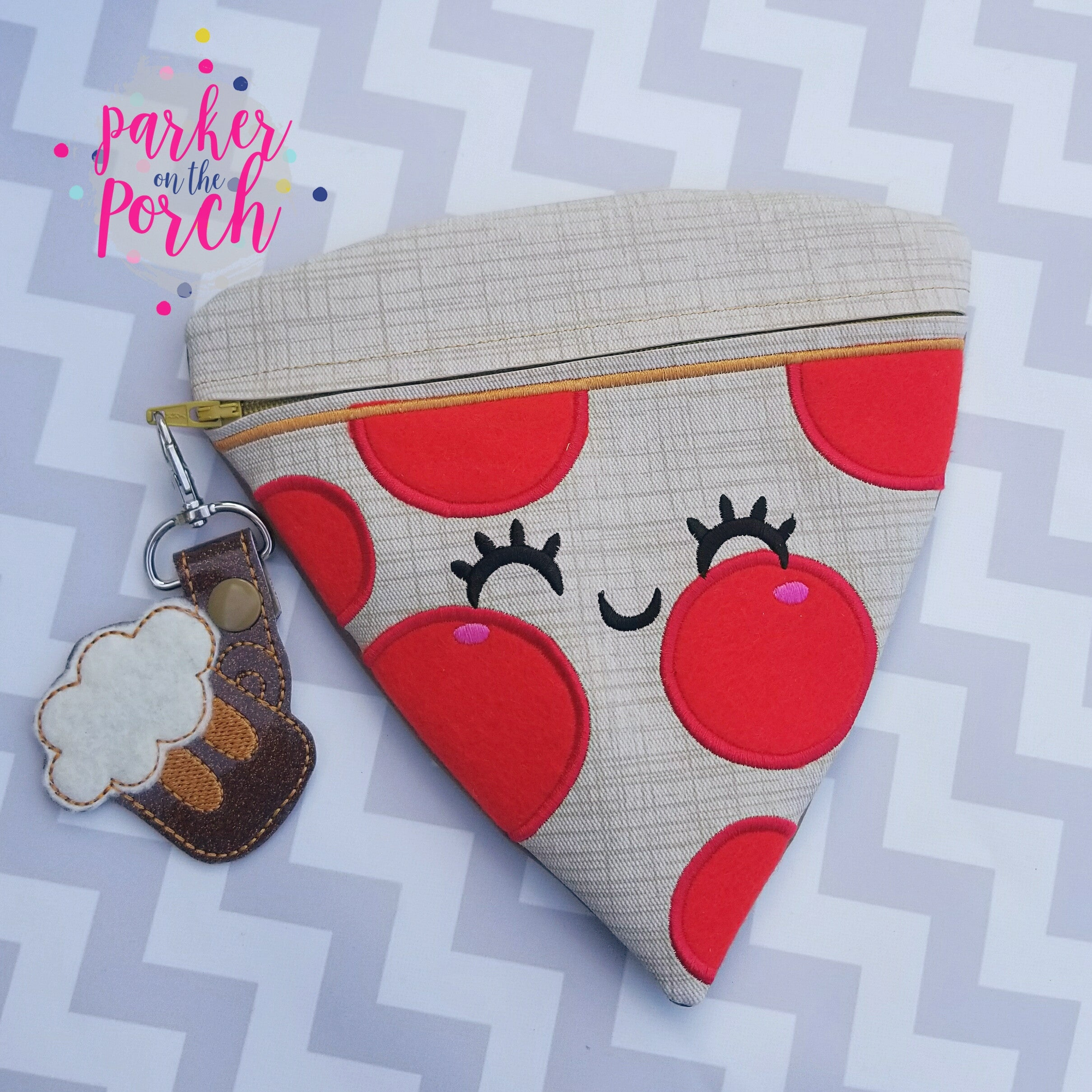 Digital Download - Pizza Slice Zipper Bag - in the hoop machine embroidery ITH pattern