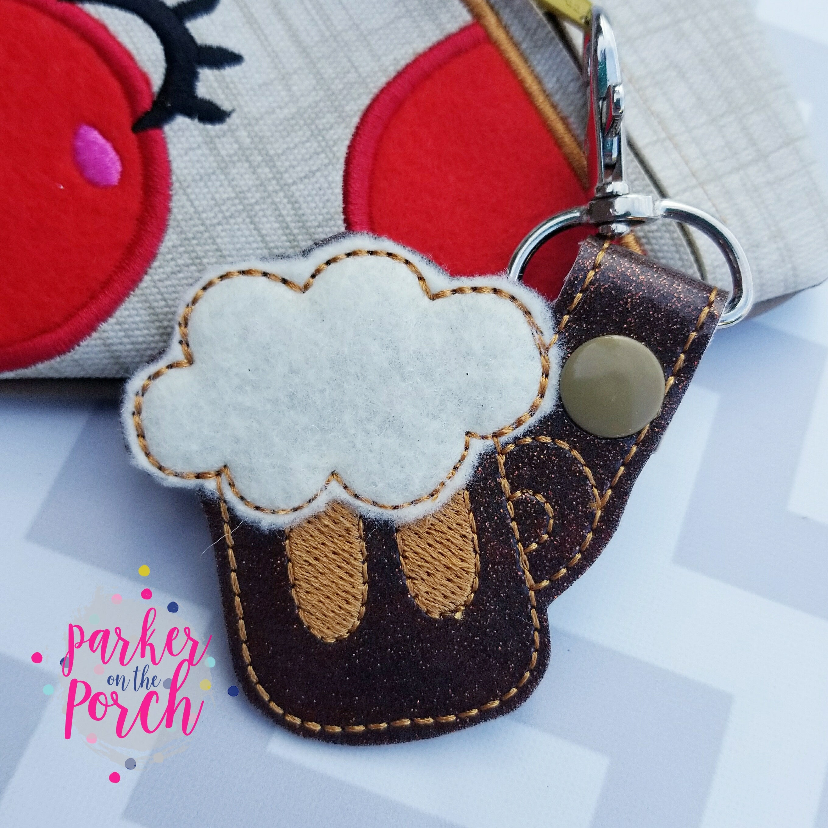 Digital Download- Root Beer Snaptab - in the hoop machine embroidery ITH pattern