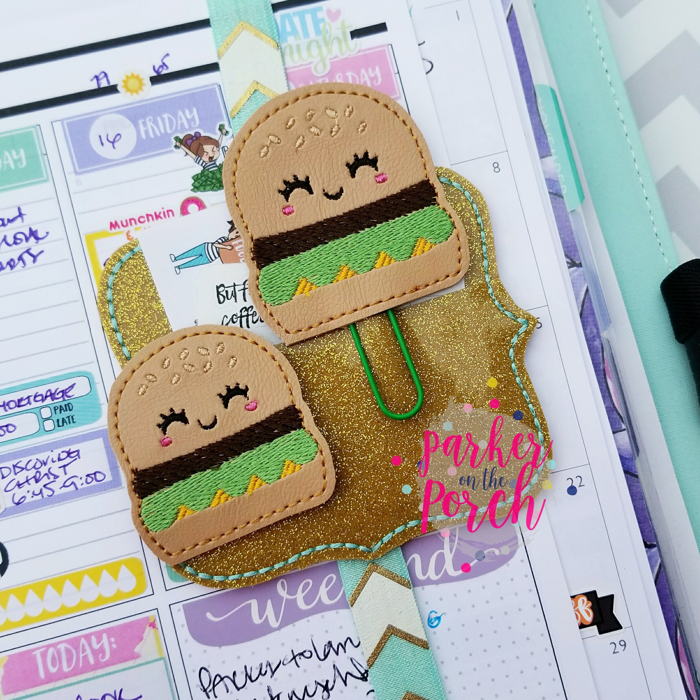Digital Download- Cheeseburger Planner Clip & Feltie Set - in the hoop machine embroidery