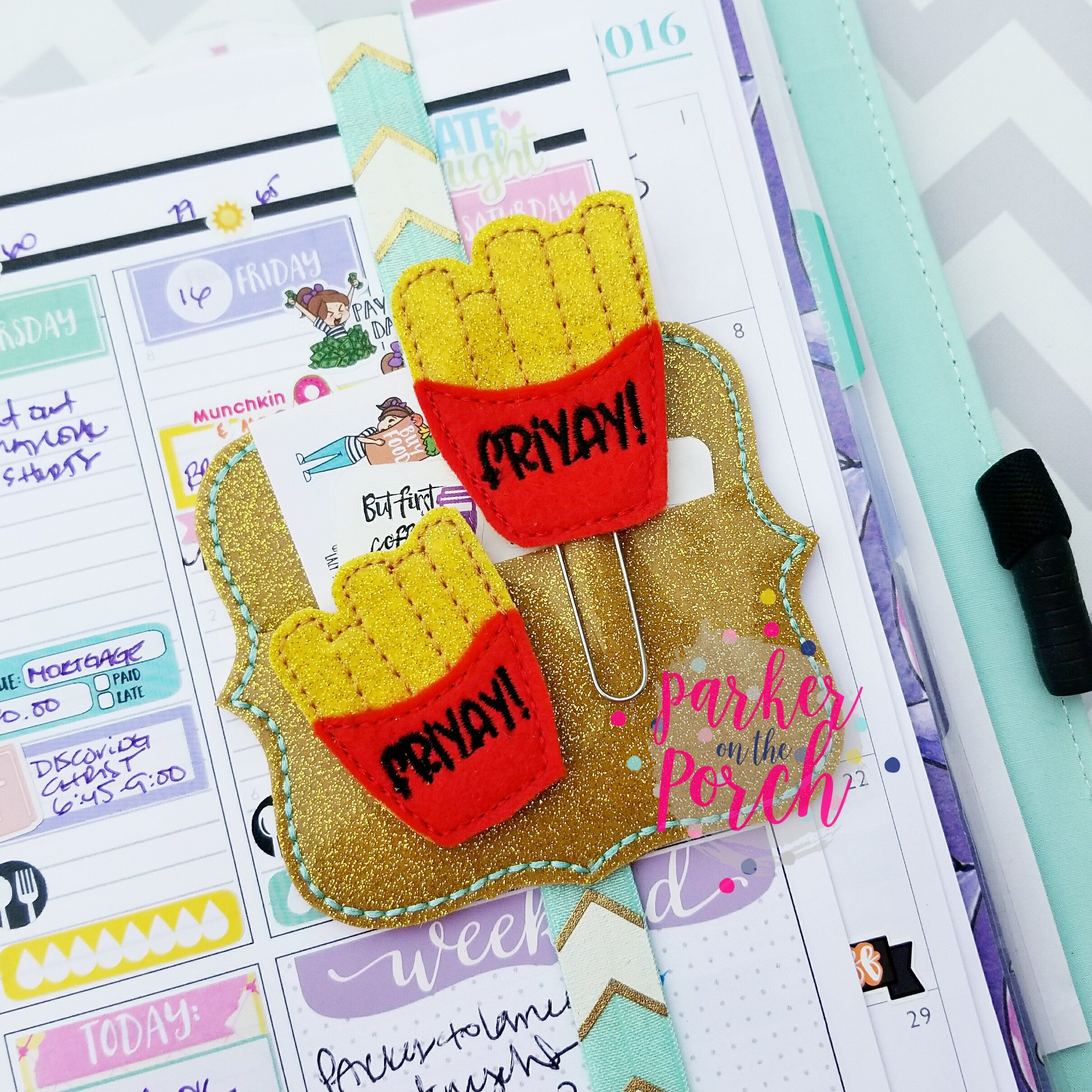 Digital Download- Fries Planner Clip & Feltie Set - in the hoop machine embroidery ITH pattern
