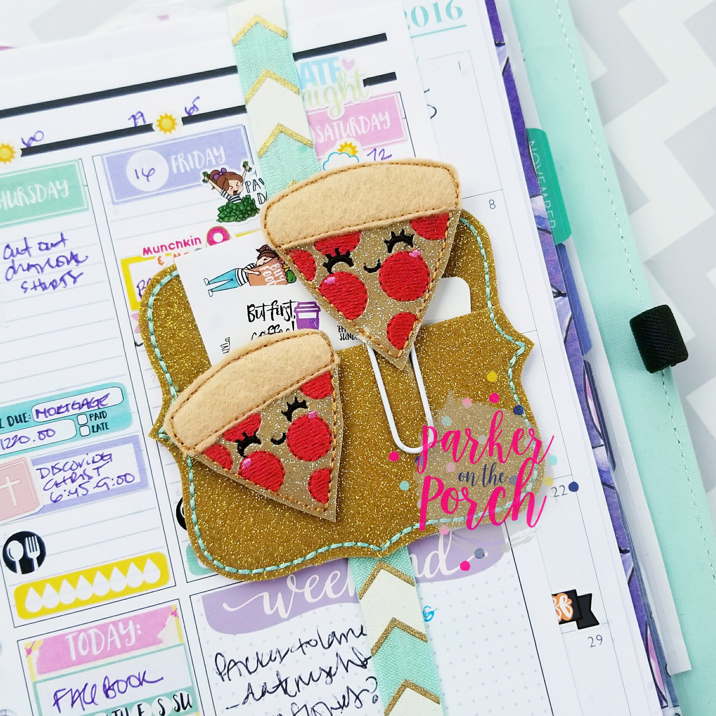 Digital Download- Pizza Planner Clip & Feltie Set - in the hoop machine embroidery