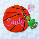 Digital Download- Basketball Zipper Bag - in the hoop machine embroidery