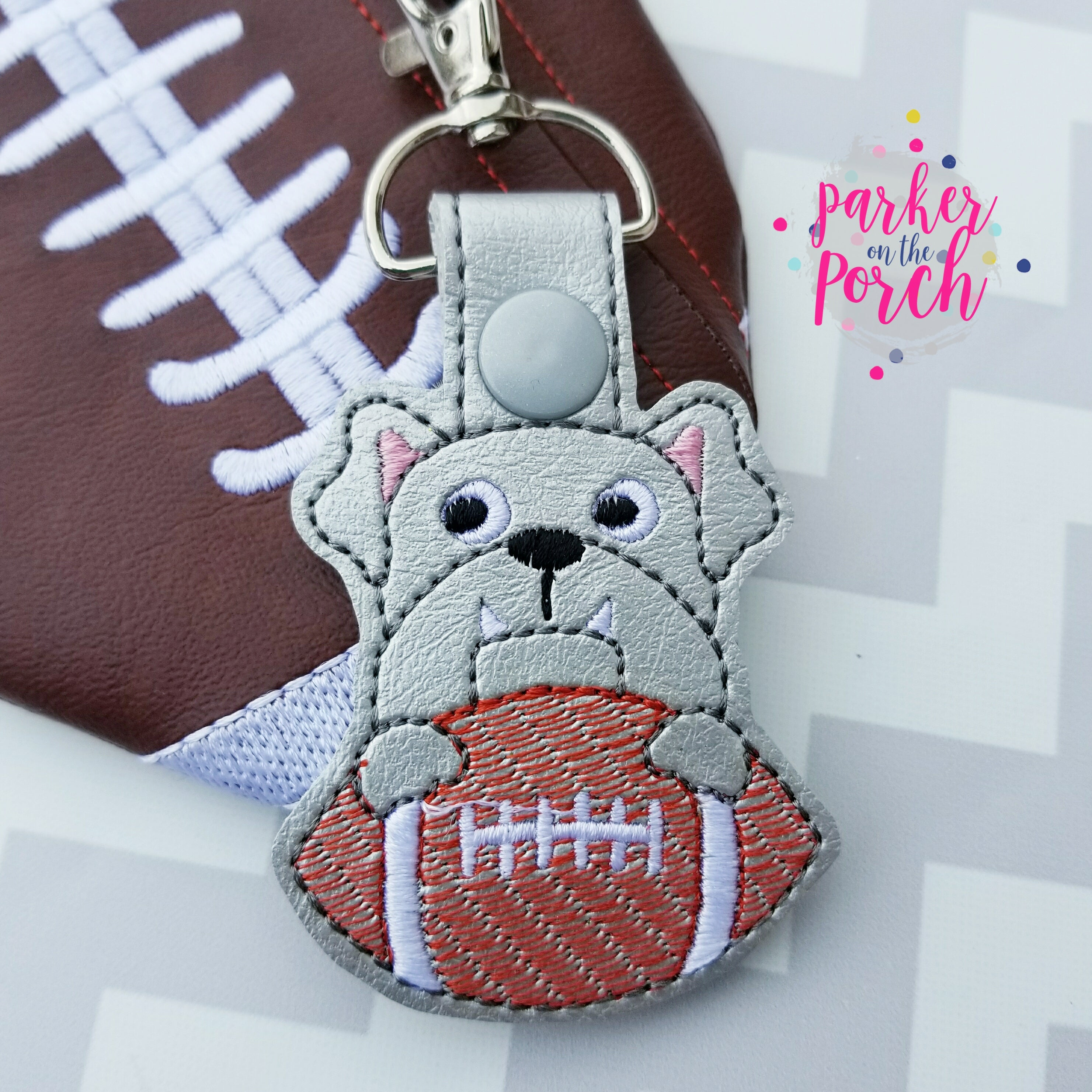 Digital Download- Mascot Bulldog Snaptab - in the hoop machine embroidery