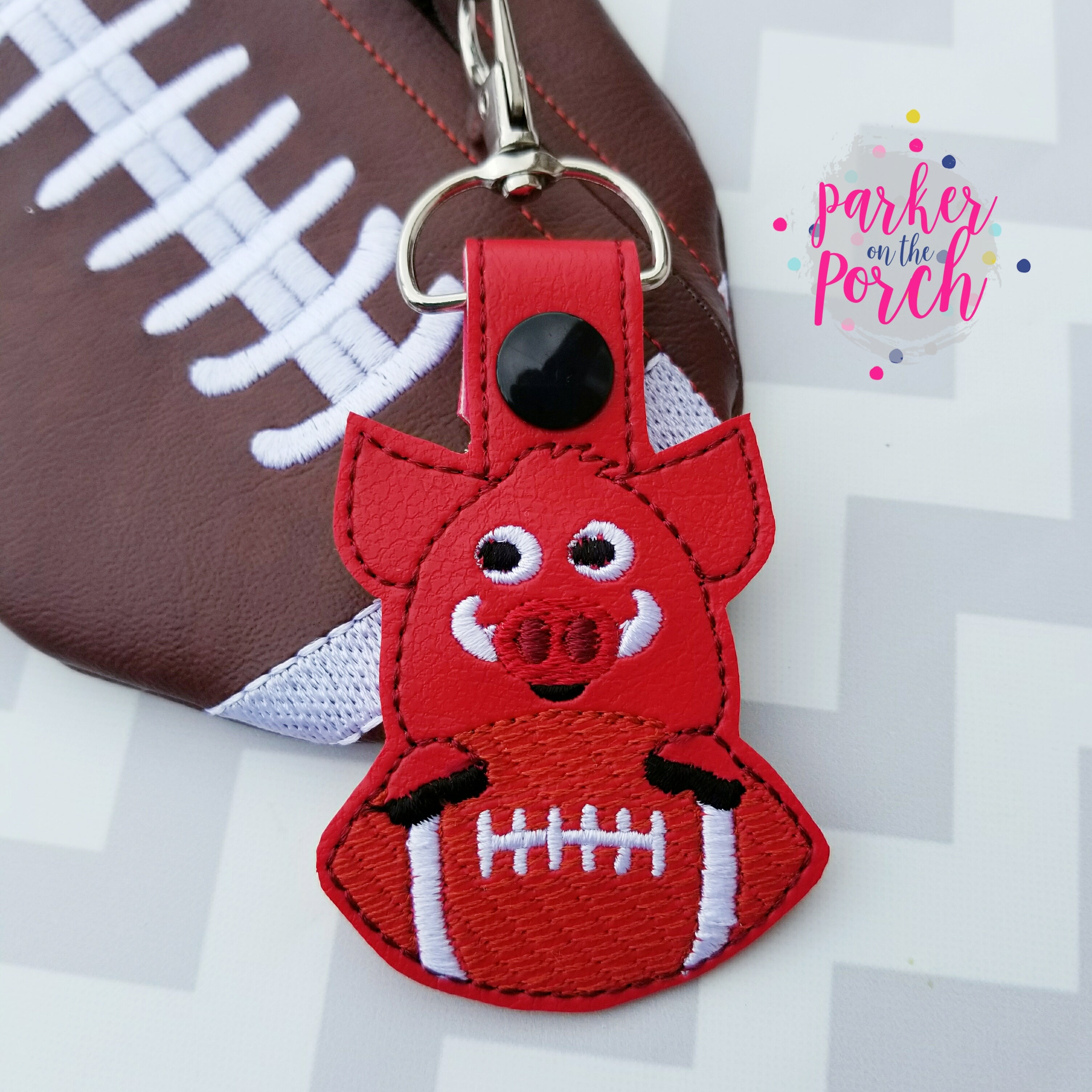 Digital Download- Mascot Hog Snaptab - in the hoop machine embroidery ITH pattern