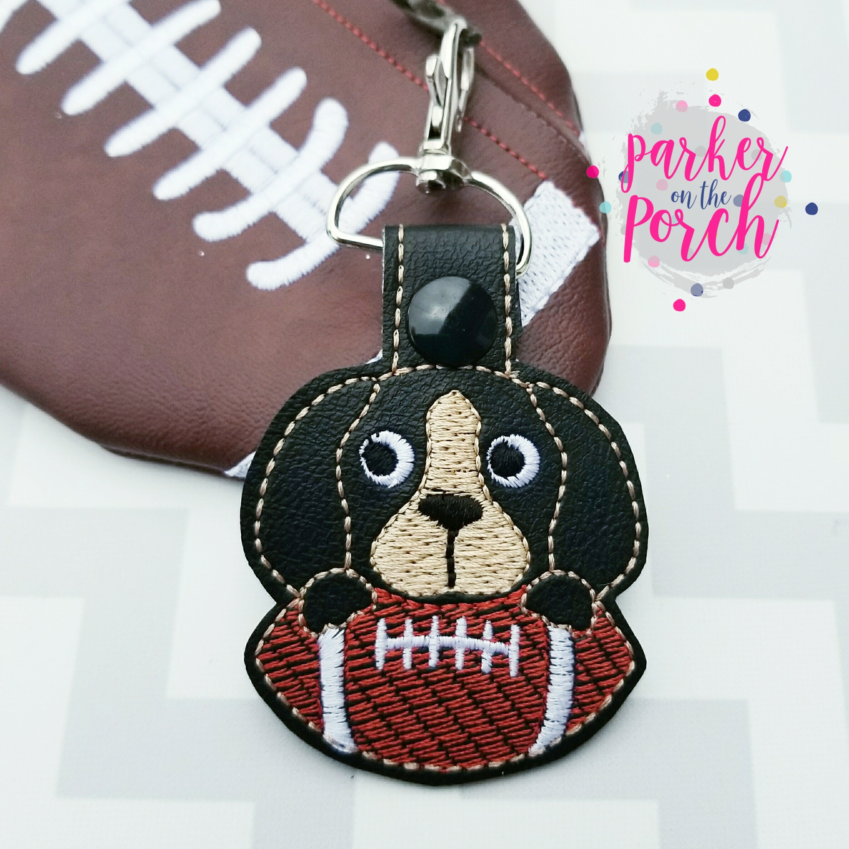 Digital Download- Mascot Hound Dog Snaptab - in the hoop machine embroidery ITH pattern