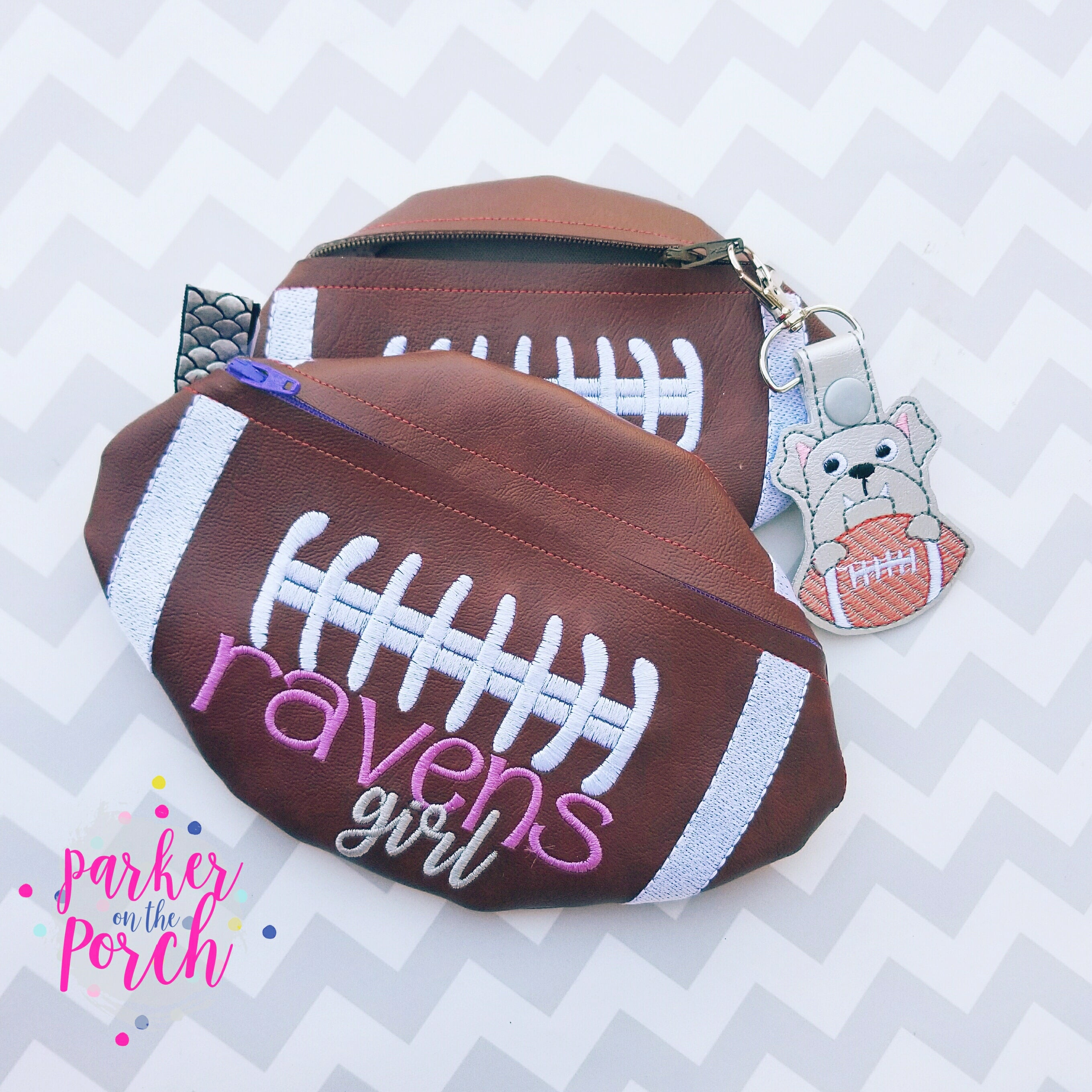 Digital Download - Football Zipper Bag - in the hoop machine embroidery ITH pattern