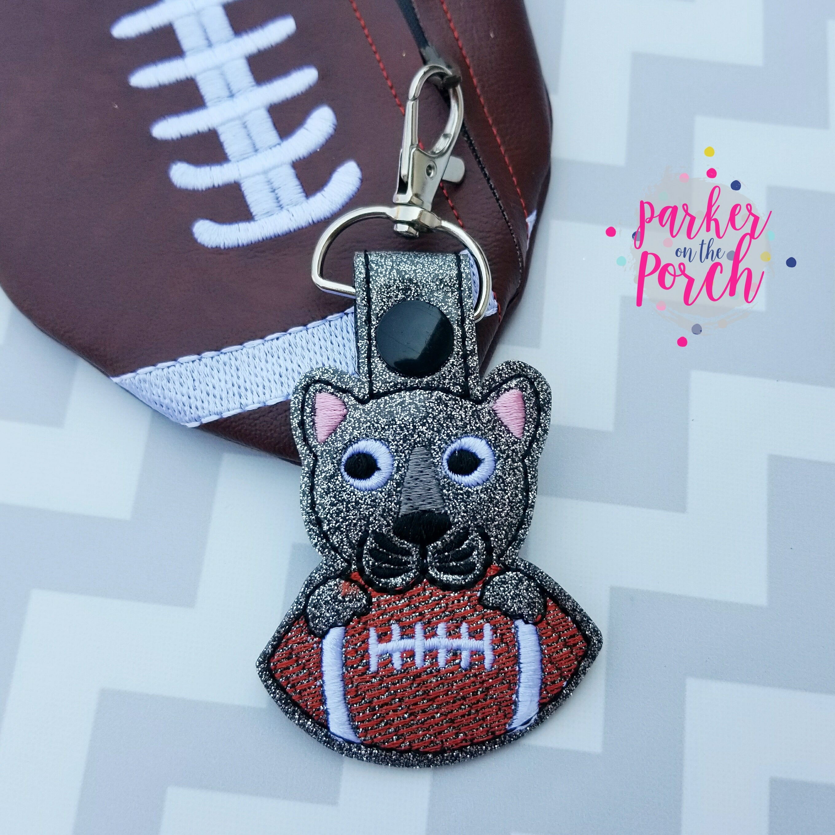 Digital Download- Mascot Panther Snaptab - in the hoop machine embroidery