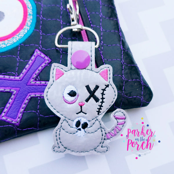 Digital Download - Zombie Pets Kitty Snaptab - in the hoop machine embroidery ITH pattern