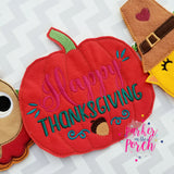 Digital Download- Happy Thanksgiving Pumpkin ITH Banner - in the hoop machine embroidery ITH pattern