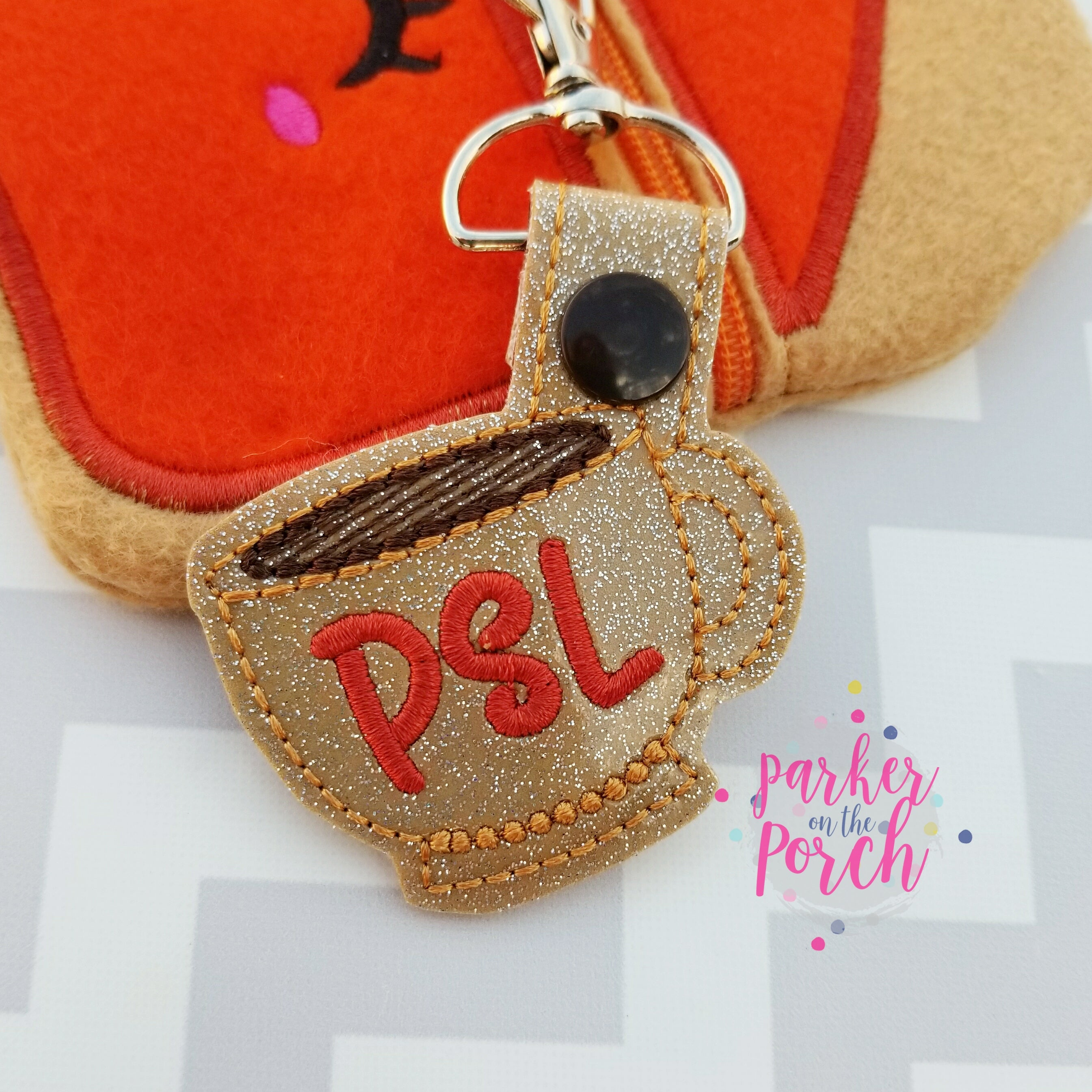 Digital Download- Pumpkin Spice Latte Snaptab ( PSL ) - in the hoop machine embroidery ITH pattern