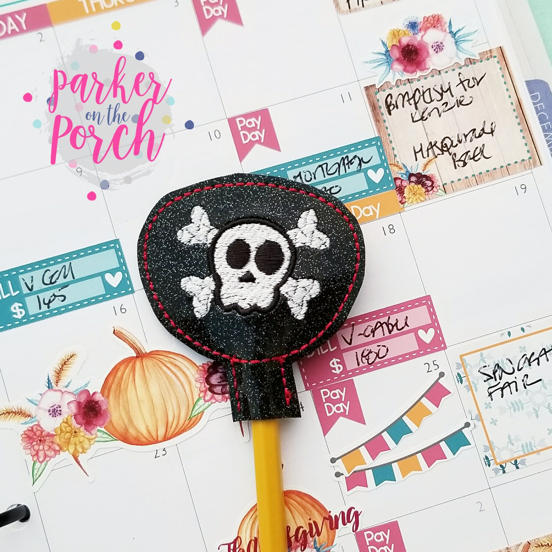 Digital Download- Pirate Eye Patch Pencil Topper - in the hoop machine embroidery ITH pattern