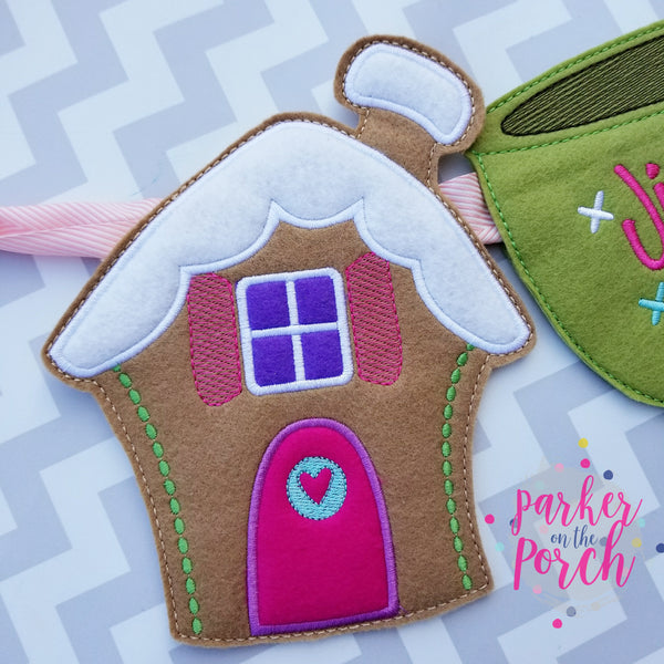 Digital Download- Gingerbread House Banner - in the hoop machine embroidery