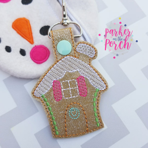 Digital Download- Gingerbread House Snaptab - in the hoop machine embroidery