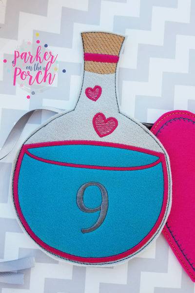 Digital Download- Love Potion Banner - in the hoop machine embroidery