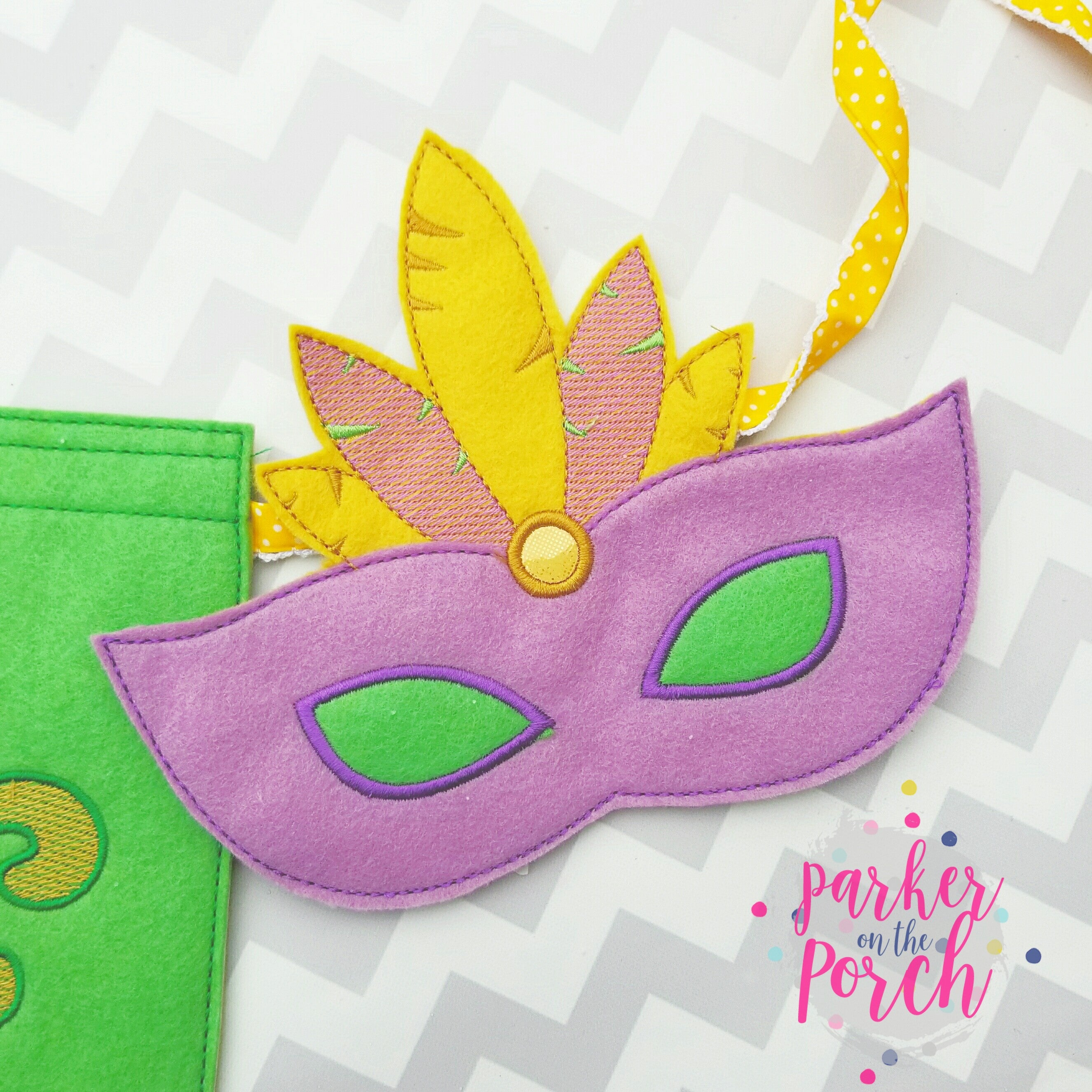 Digital Download- Masquerade Mask Banner ( Mardi Gras ) - in the hoop machine embroidery ITH pattern