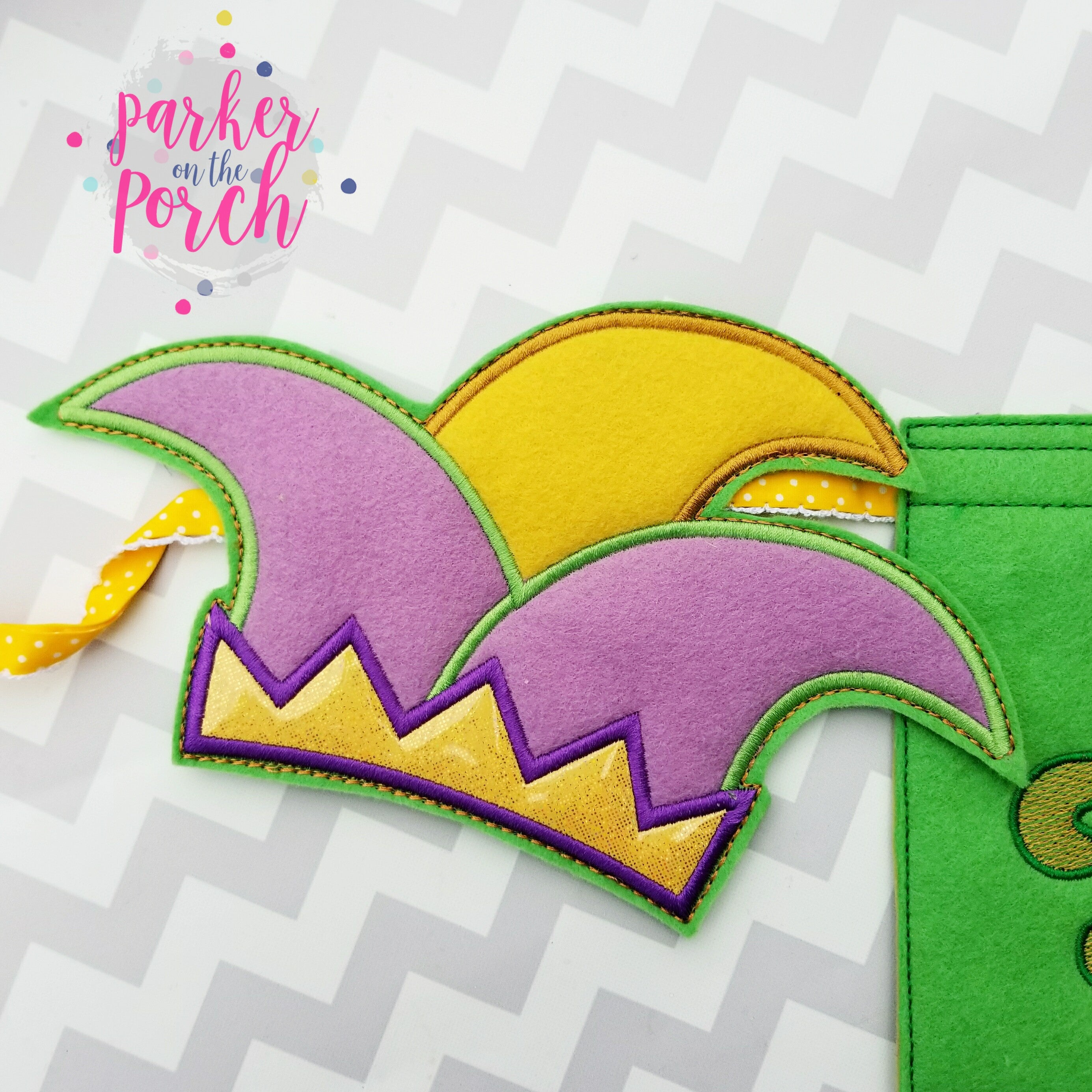 Digital Download- Jester Hat Banner ( Mardi Gras ) - in the hoop machine embroidery ITH pattern