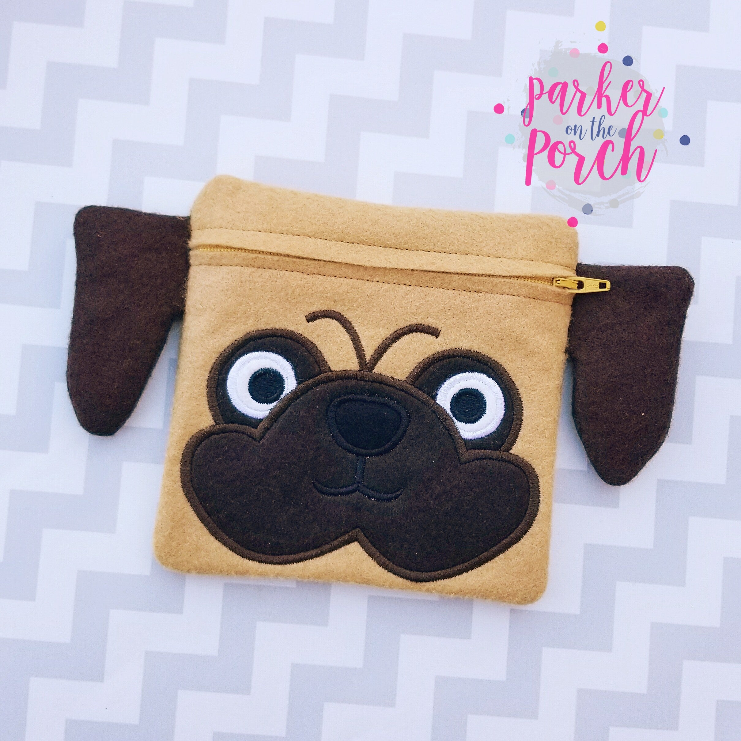 Digital Download - Pug Zipper Bag - in the hoop machine embroidery ITH pattern