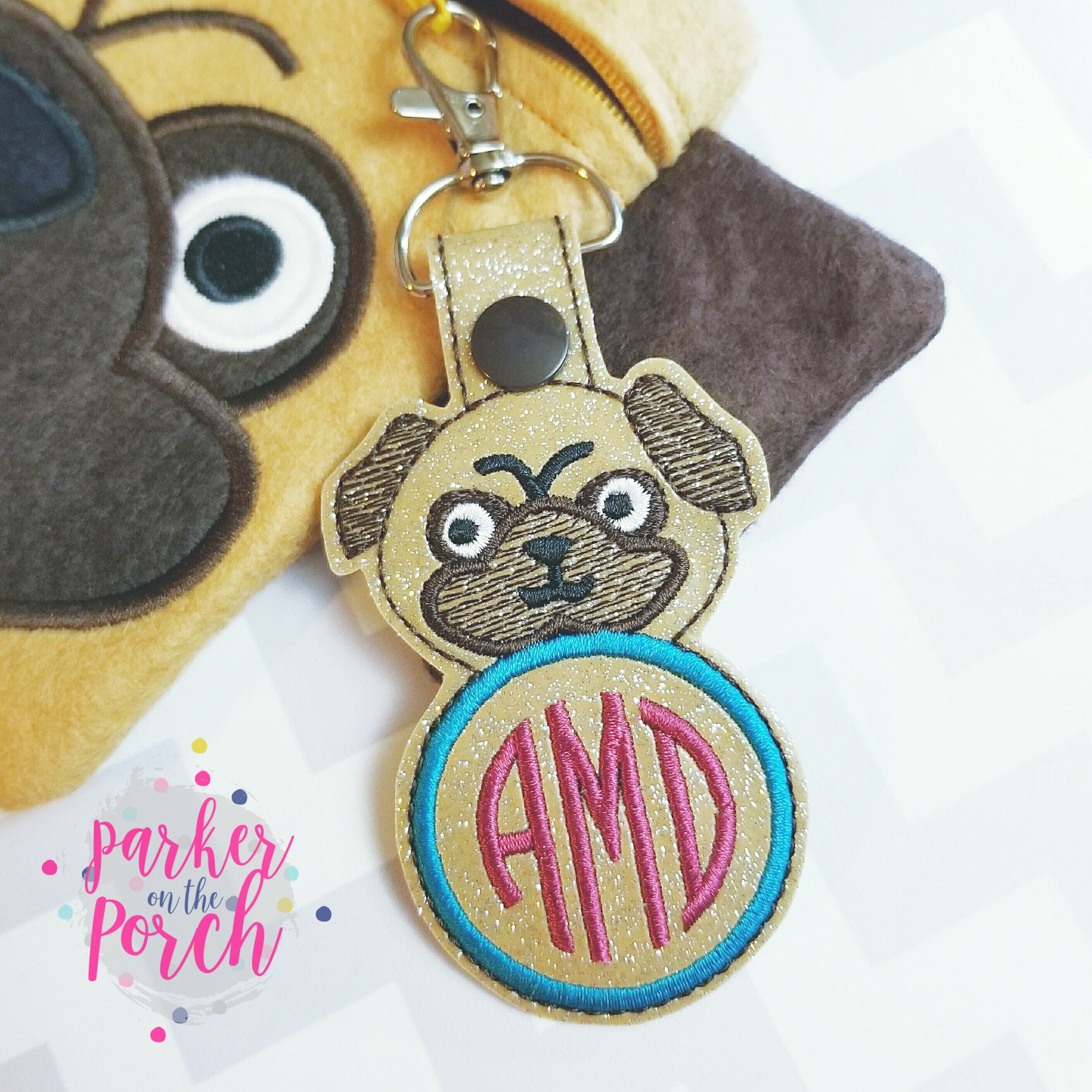 Digital Download- Pug Monogram Snaptab - in the hoop machine embroidery ITH pattern