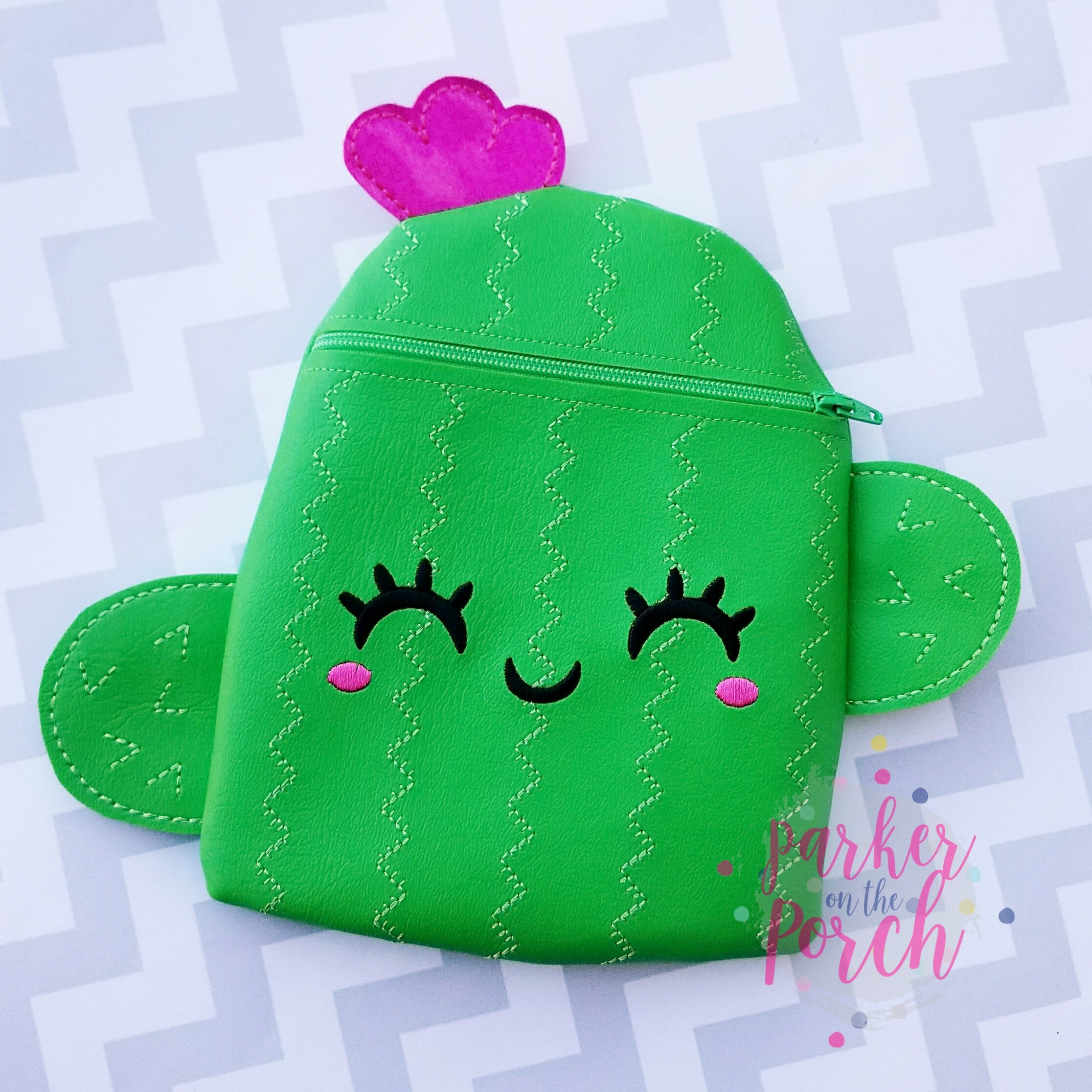 Digital Download - Cactus Zipper Bag - in the hoop machine embroidery ITH pattern