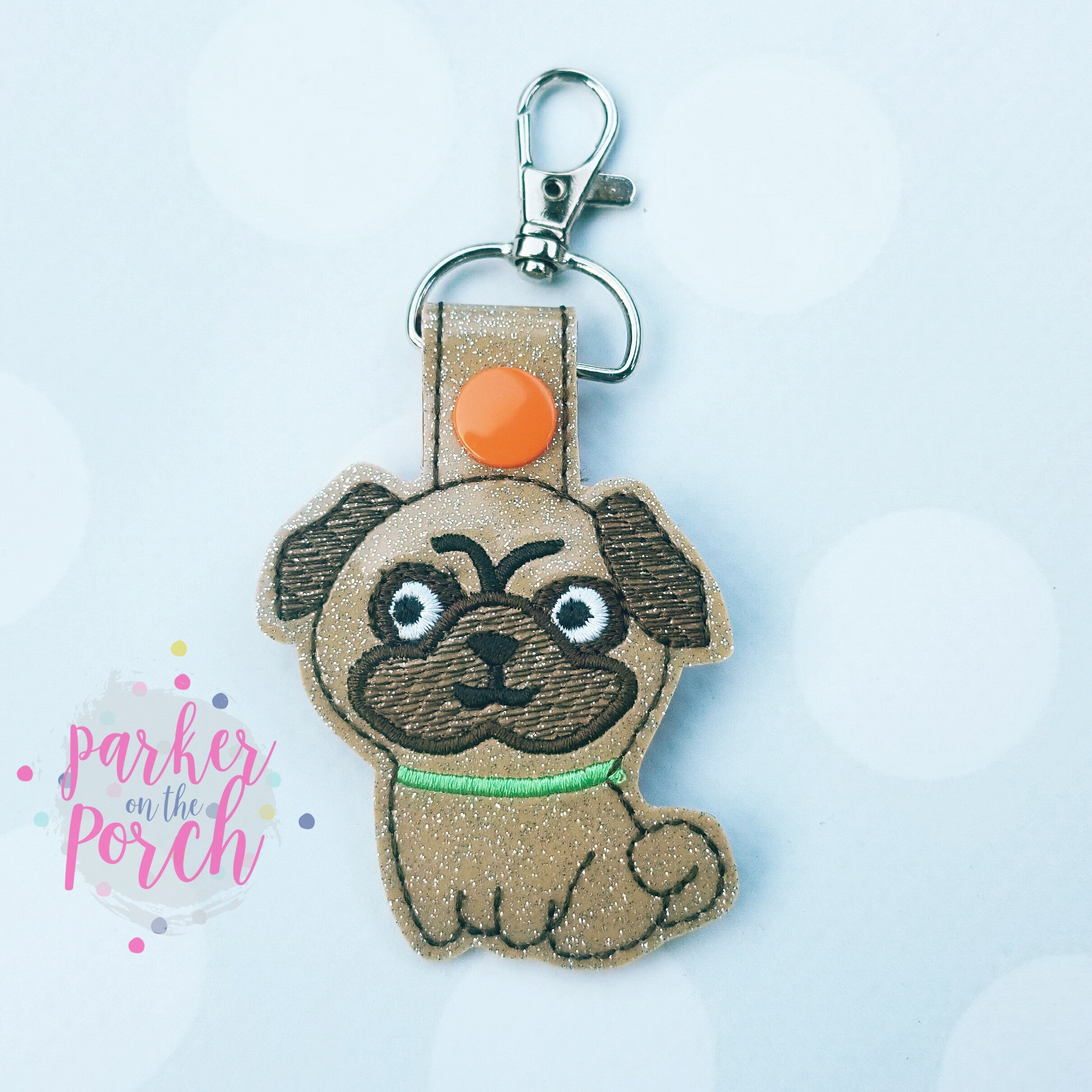 Digital Download- Pug Snaptab - in the hoop machine embroidery ITH pattern