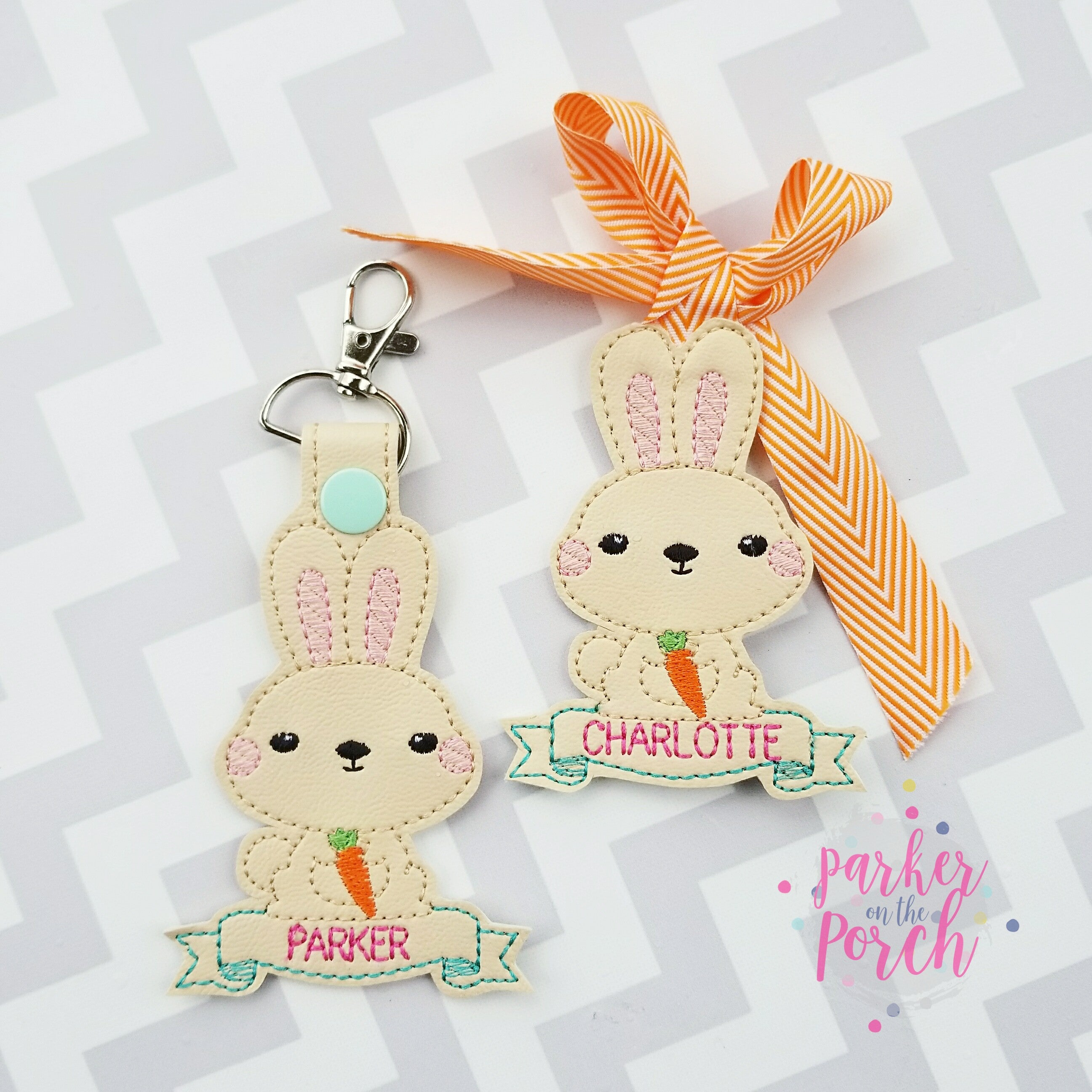 Digital Download- Easter Bunny Snaptab and Basket Tag - in the hoop machine embroidery ITH pattern