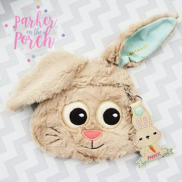 Digital Download- Bunny Zipper Bag - in the hoop machine embroidery