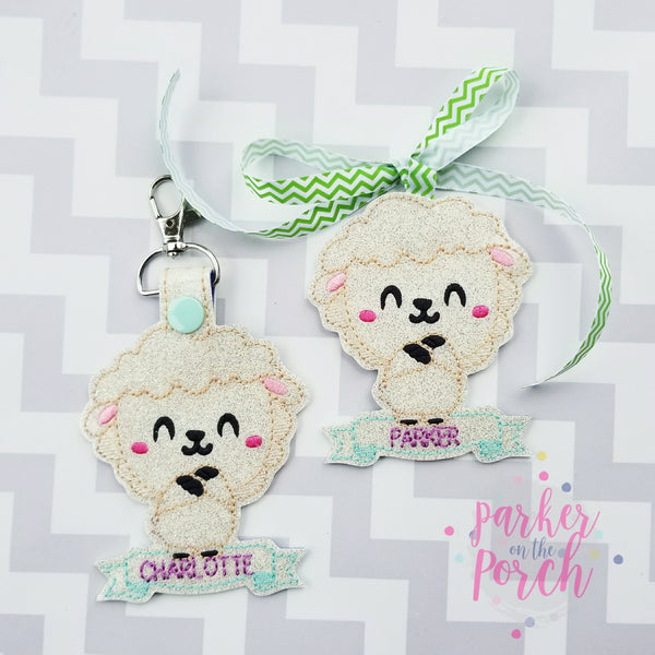 Digital Download- Easter Lamb Snaptab and Basket Tag - in the hoop machine embroidery