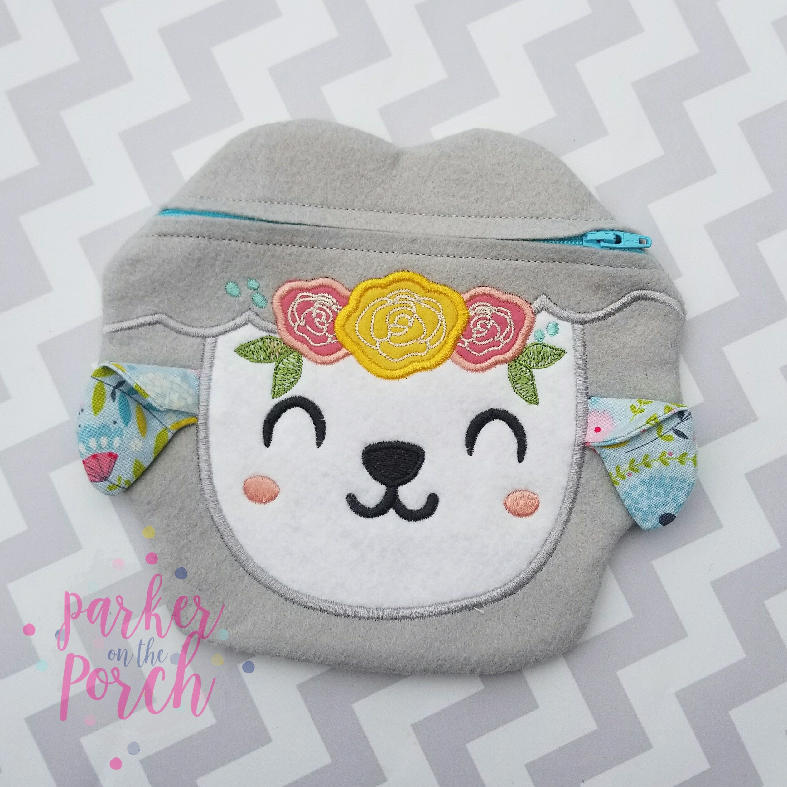 Digital Download - Floral Lamb Zipper Bag - in the hoop machine embroidery ITH pattern