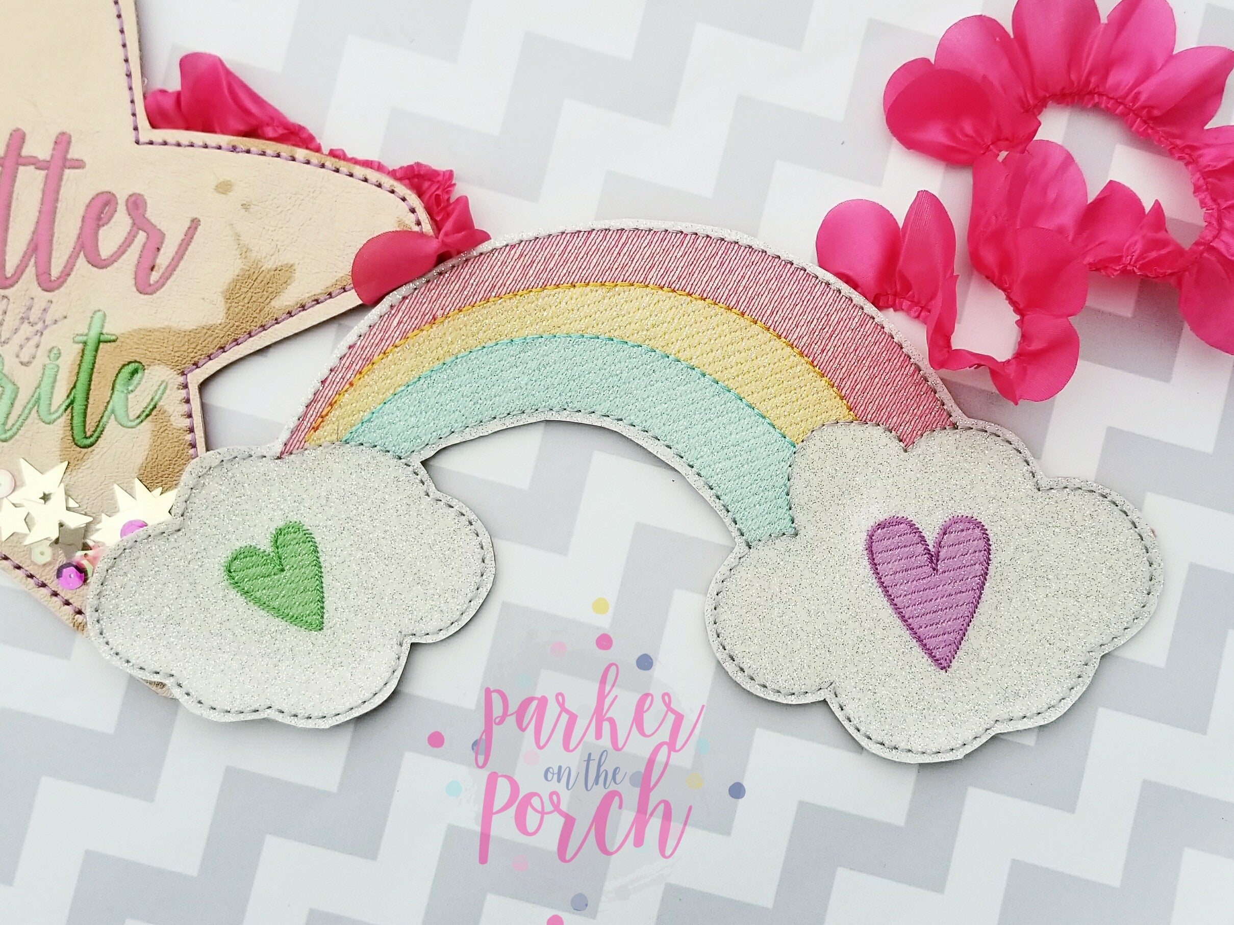 Digital Download - Rainbow Banner - in the hoop machine embroidery ITH pattern