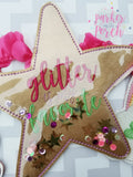 Digital Download- Glitter Filled Star Banner - in the hoop machine embroidery ITH pattern