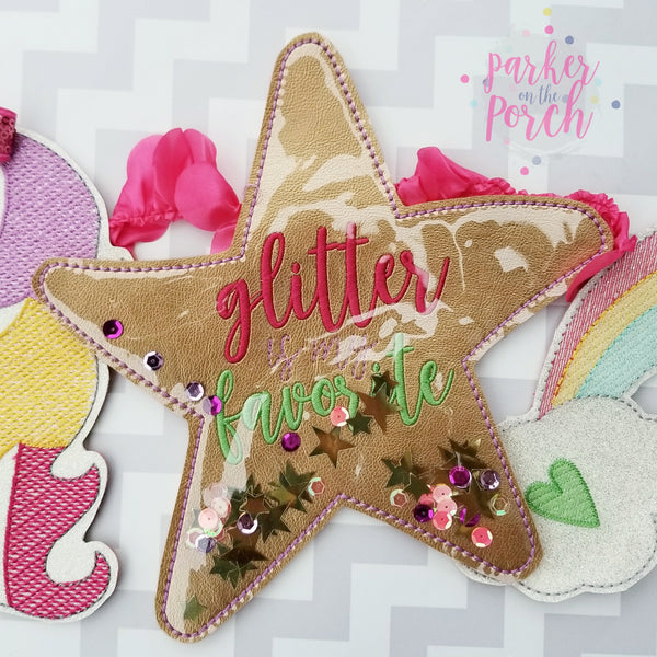 Digital Download- Glitter Filled Star Banner - in the hoop machine embroidery