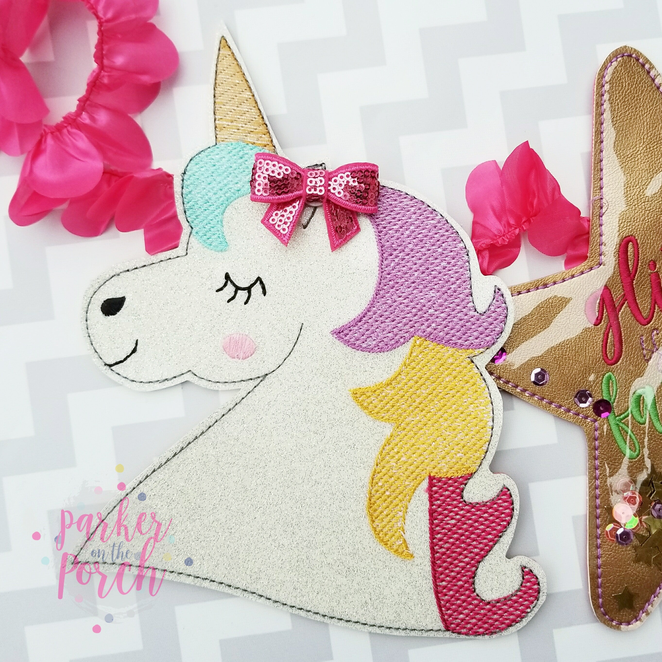 Digital Download- Unicorn Banner - in the hoop machine embroidery ITH pattern