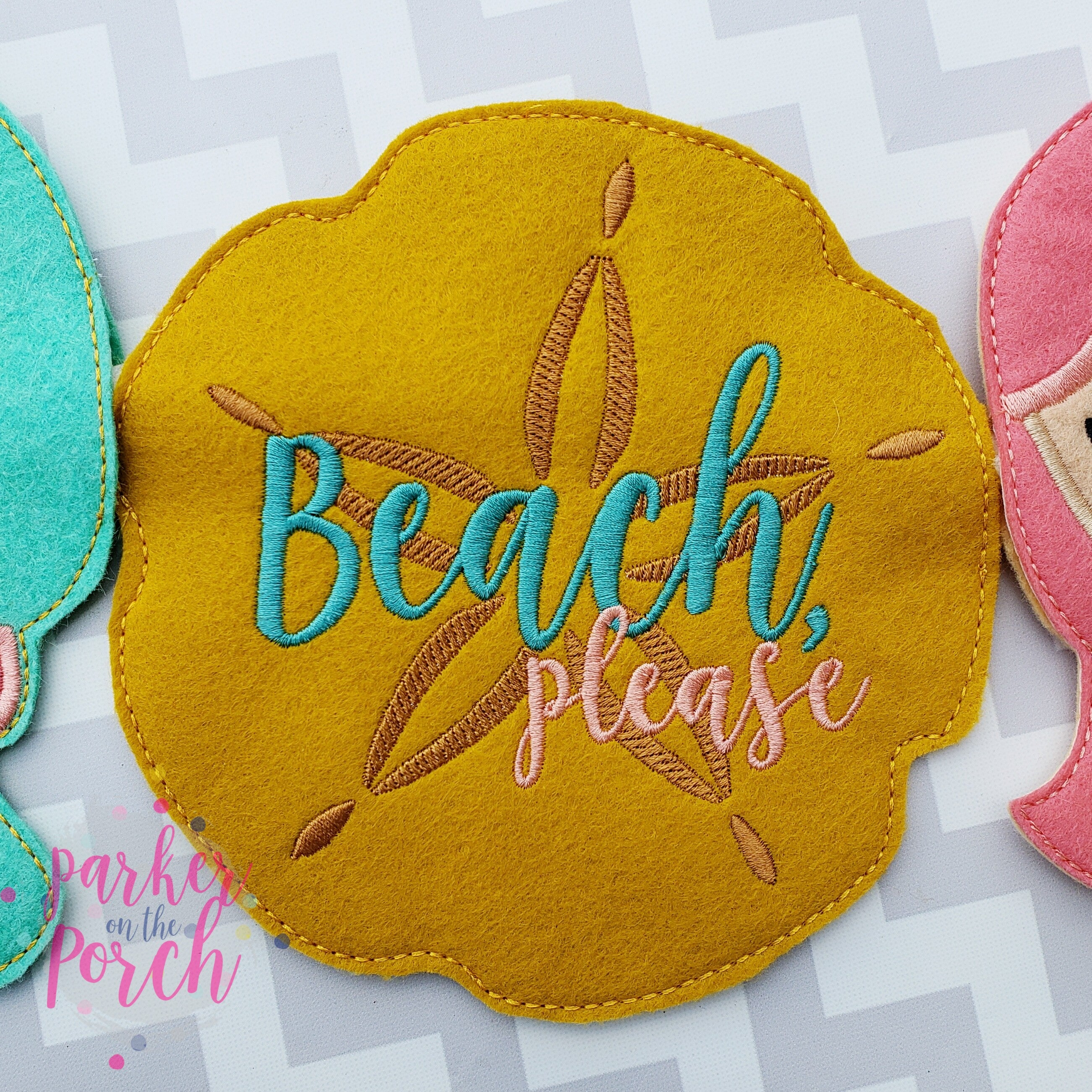Digital Download- Beach, Please Sand Dollar Banner - in the hoop machine embroidery ITH pattern