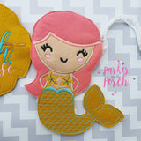 Digital Download- Mermaid Banner - in the hoop machine embroidery ITH pattern