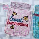 Digital Download- Mason Jar Banner- Sweet Summertime - in the hoop machine embroidery ITH pattern