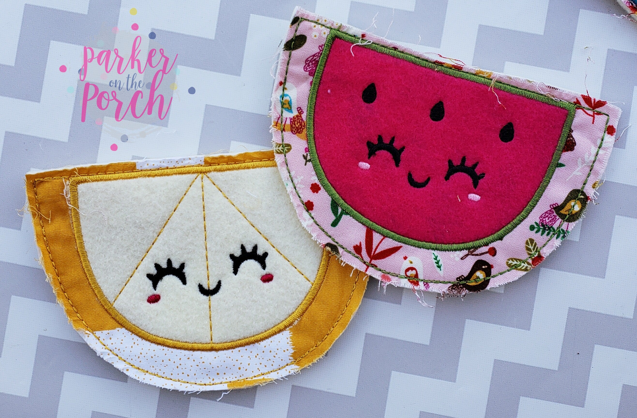 Digital Download- Watermelon and Lemon Banner set - in the hoop machine embroidery