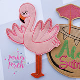 Digital Download- Flamingo Banner - in the hoop machine embroidery ITH pattern