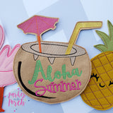 Digital Download- Tiki Punch Banner - Aloha Summer ! - in the hoop machine embroidery